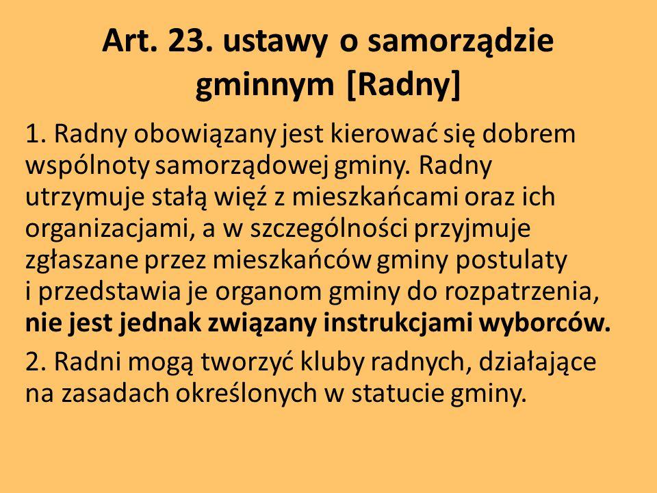 Art. 23. ustawy o samorządzie gminnym [Radny]